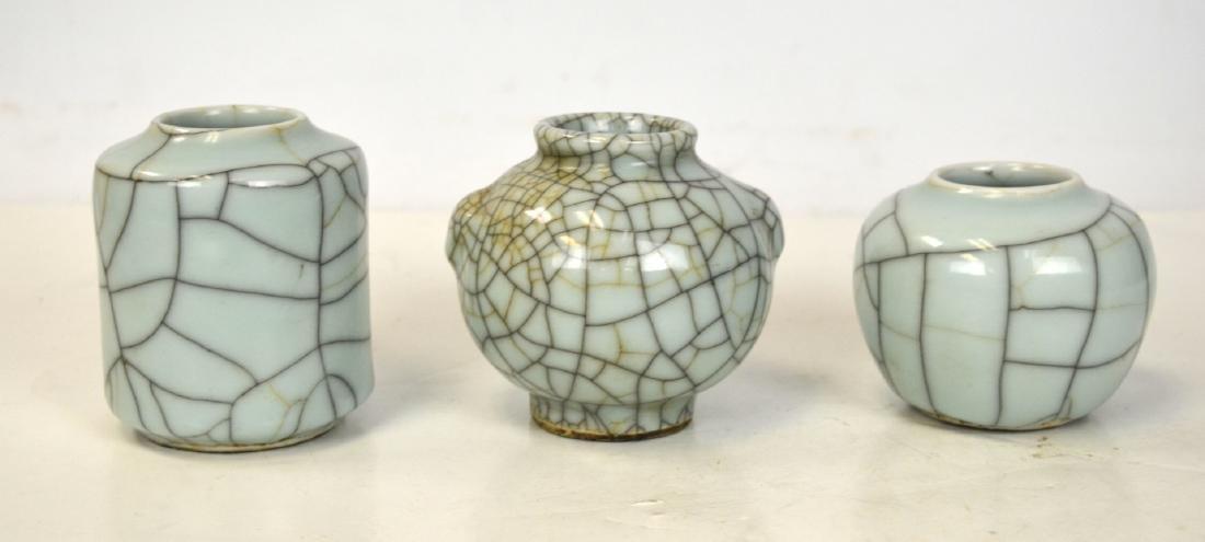 Three Chinese Crackle Glaze Celadon Vases