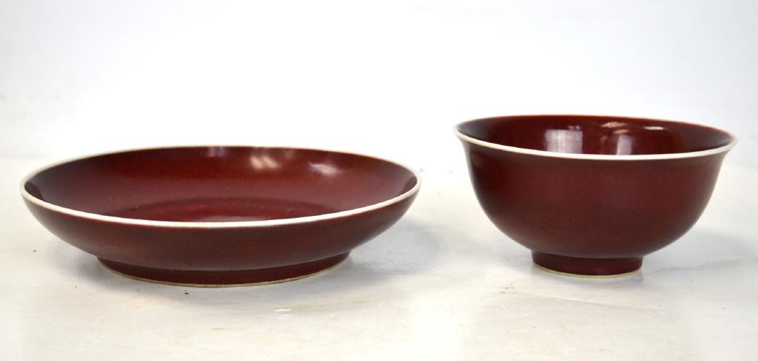 Two Chinese Red Glazed Bowl and Plate