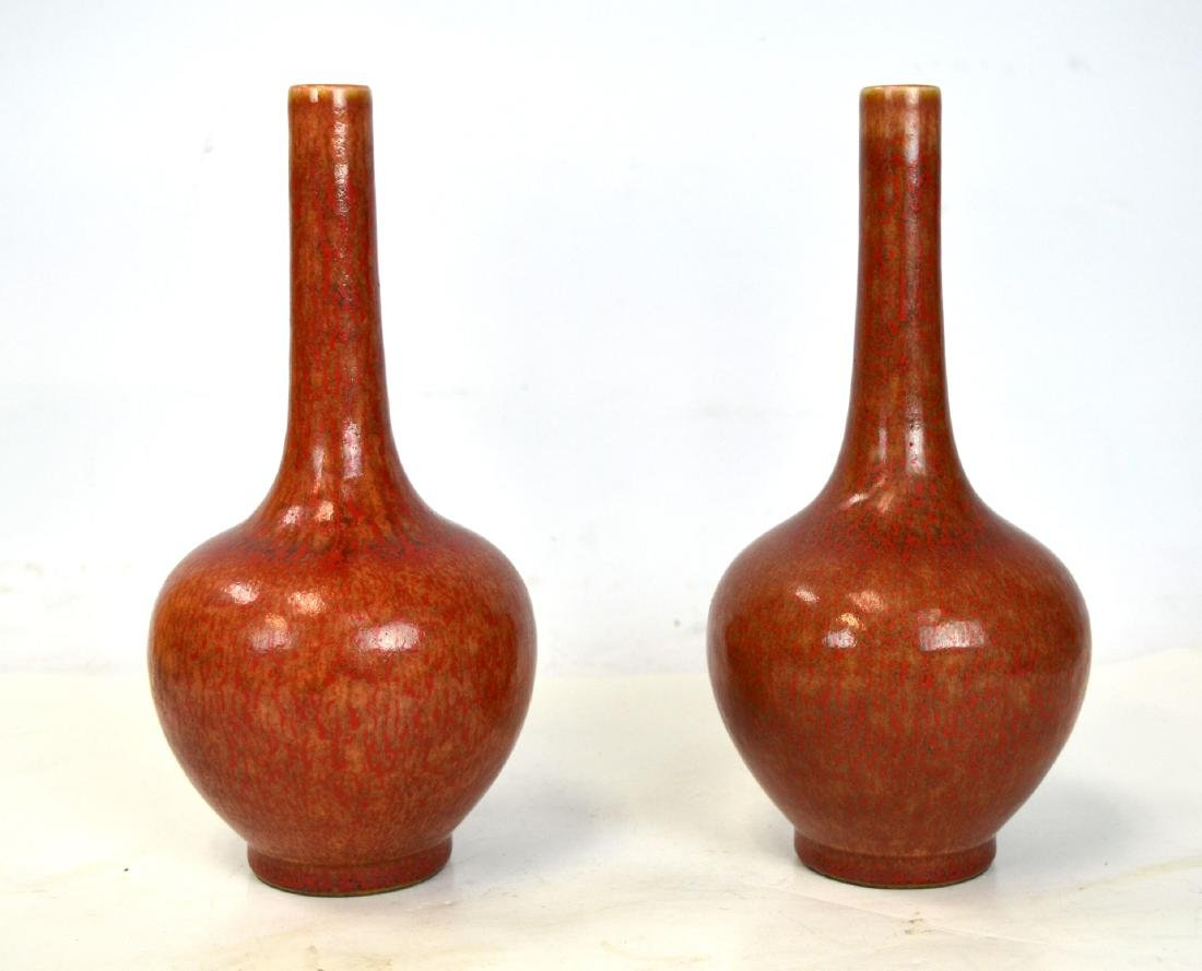 Pair Chinese Blossom Long Neck Vases