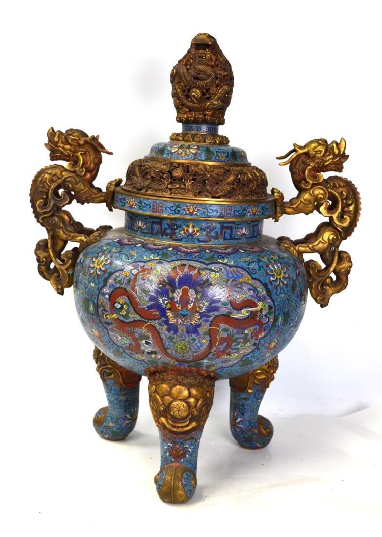 Large Chinese Cloisonne Incense Burner