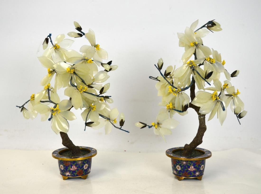 Pair Chinese Jade Stone Tree w Cloisonne Planters