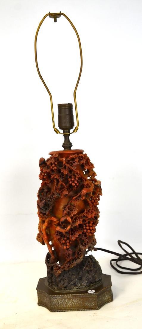 Chinese Finely Carved Soapstone Vase Lamp Base