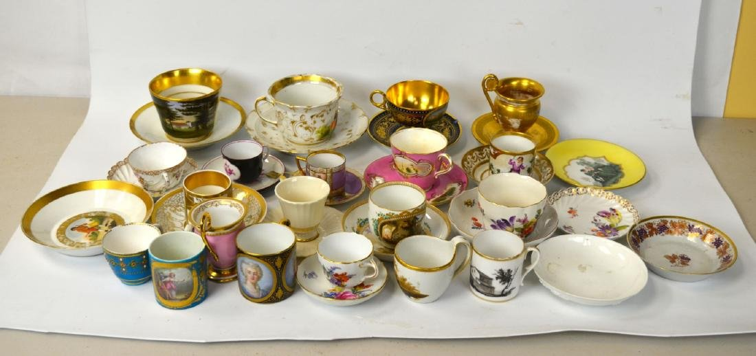 18/19th C. 39 Pcs of Porcelain Cups & Saucers