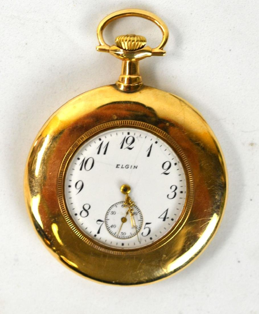 14K Gold Elgin Pocket Watch w Hebrew Characters