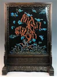 Chinese Hard Table Screen w. King Feather &Coral