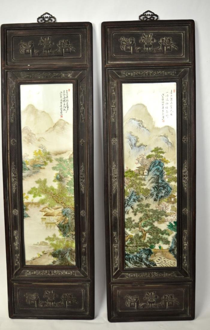Pr Chinese Wood Framed Famille Rose Plaques