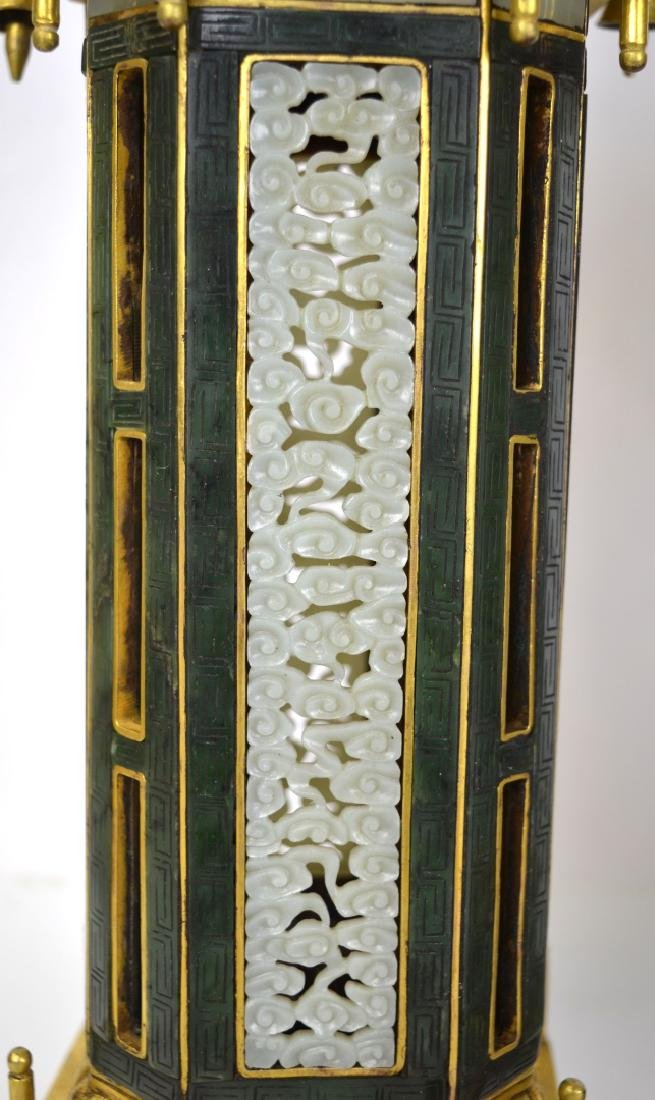 Qing Dynasty. Pr Chinese Bronze Pagodas with Jade - 2