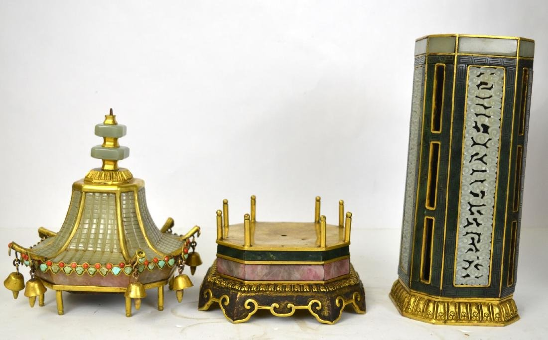 Qing Dynasty. Pr Chinese Bronze Pagodas with Jade - 4