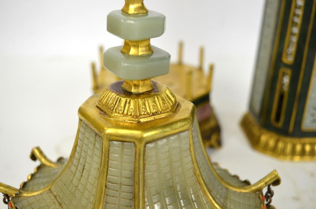 Qing Dynasty. Pr Chinese Bronze Pagodas with Jade - 5