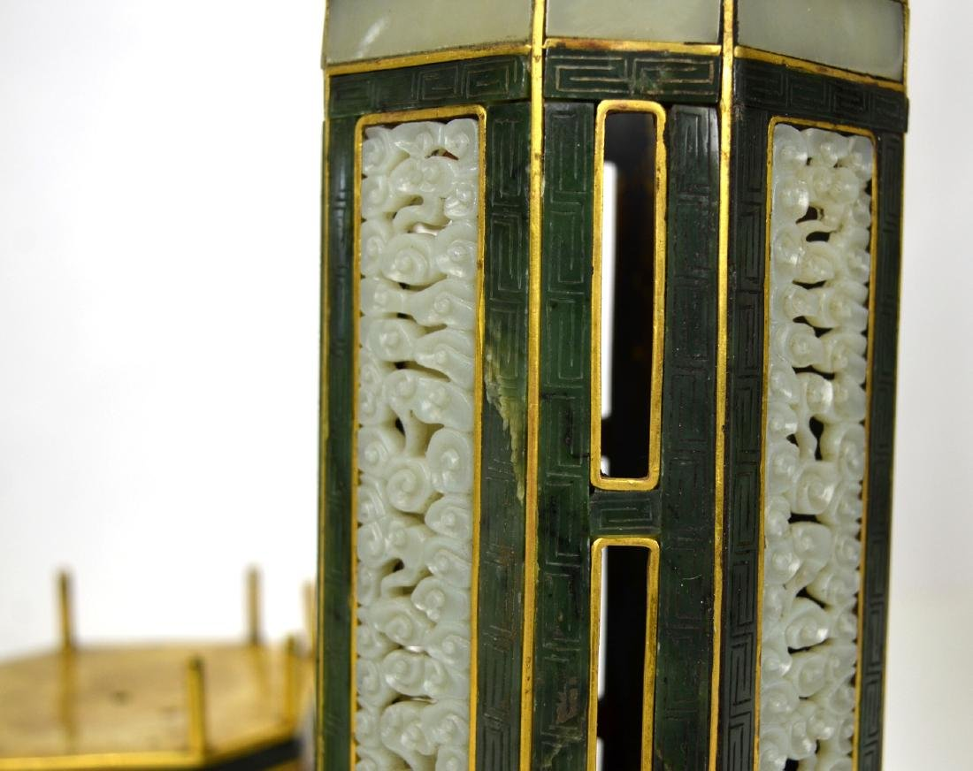Qing Dynasty. Pr Chinese Bronze Pagodas with Jade - 7