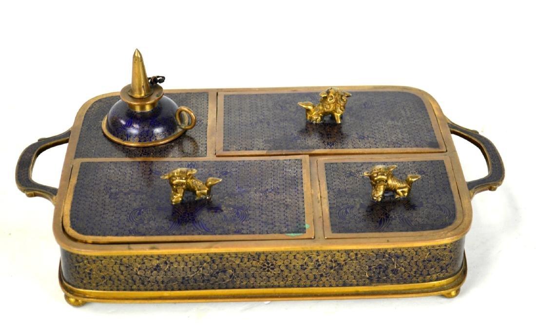 Chinese Cloisonne Smoking Set