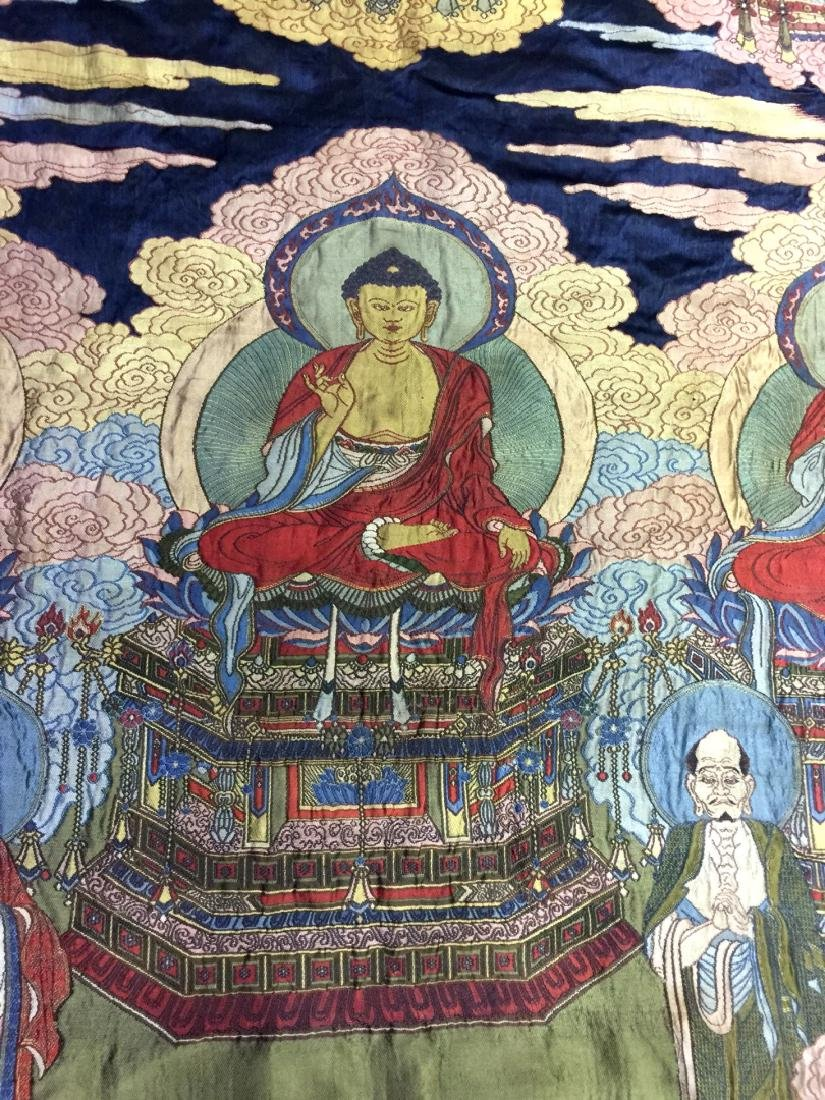 Large Chinese Silk Embroidered Thangka - 3