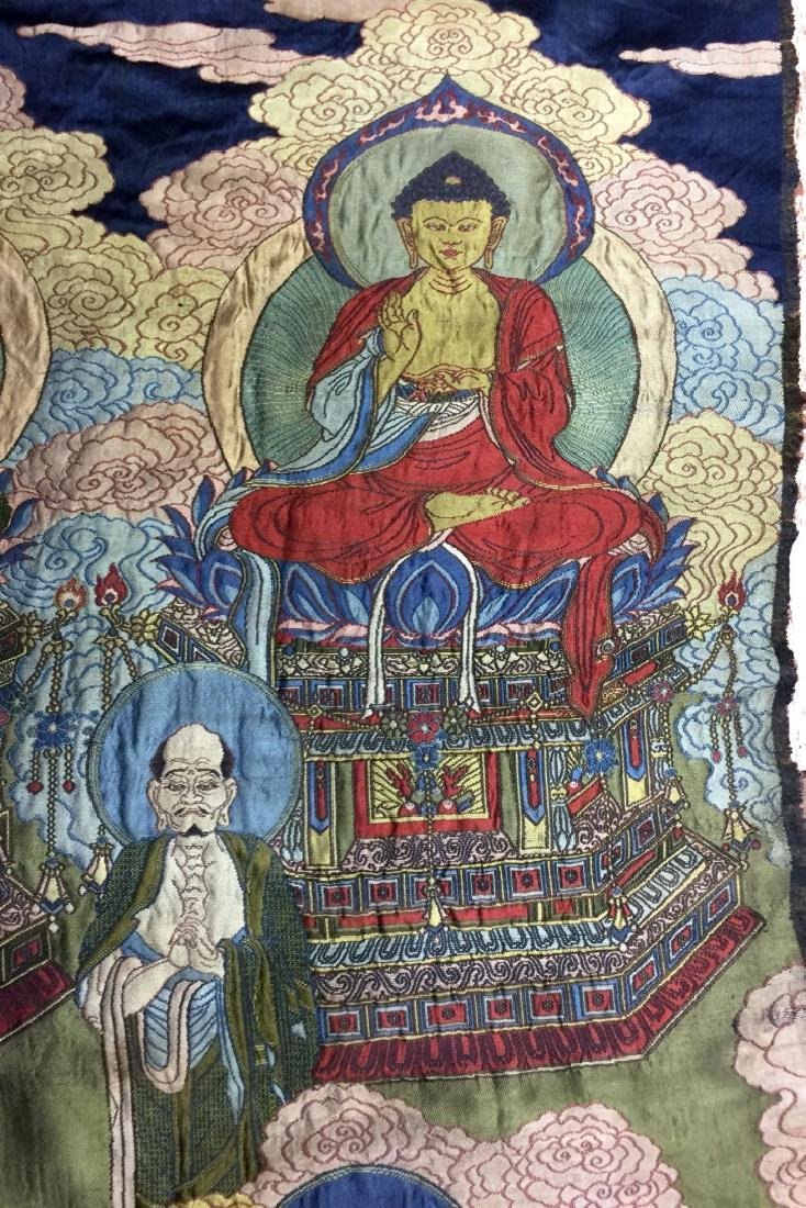 Large Chinese Silk Embroidered Thangka - 4