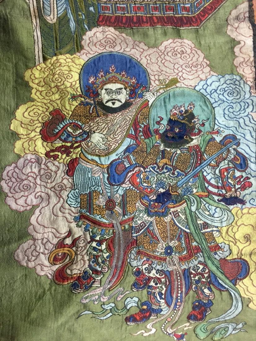 Large Chinese Silk Embroidered Thangka - 5