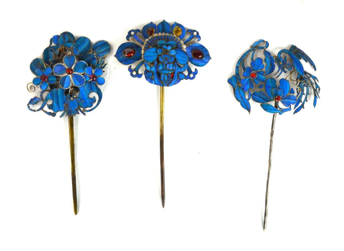 Three Chinese Kingfisher Feather Pins