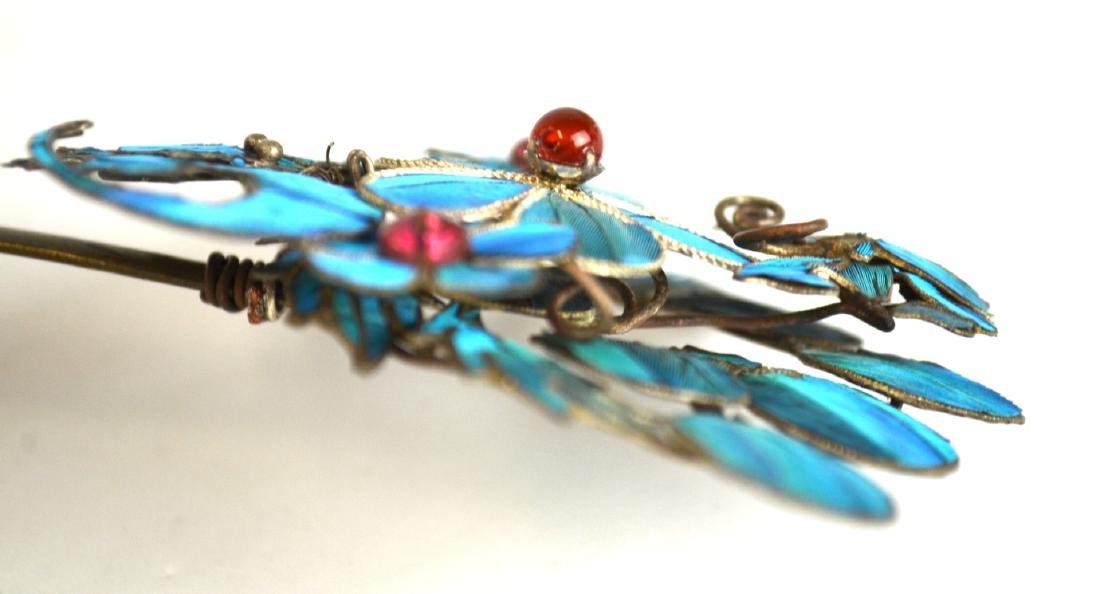 Three Chinese Kingfisher Feather Pins - 8