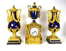 19th Century French  Dore Bronze Vases Clock Set