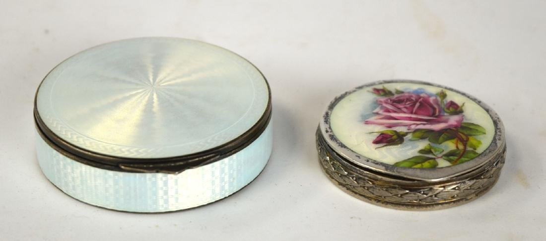Two Round Enamel Silver Boxes