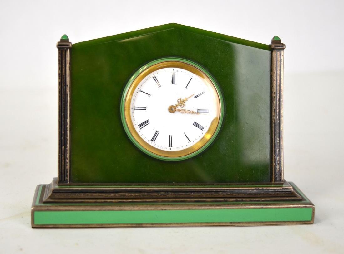 Spinach Jade Silver Enamel Clock