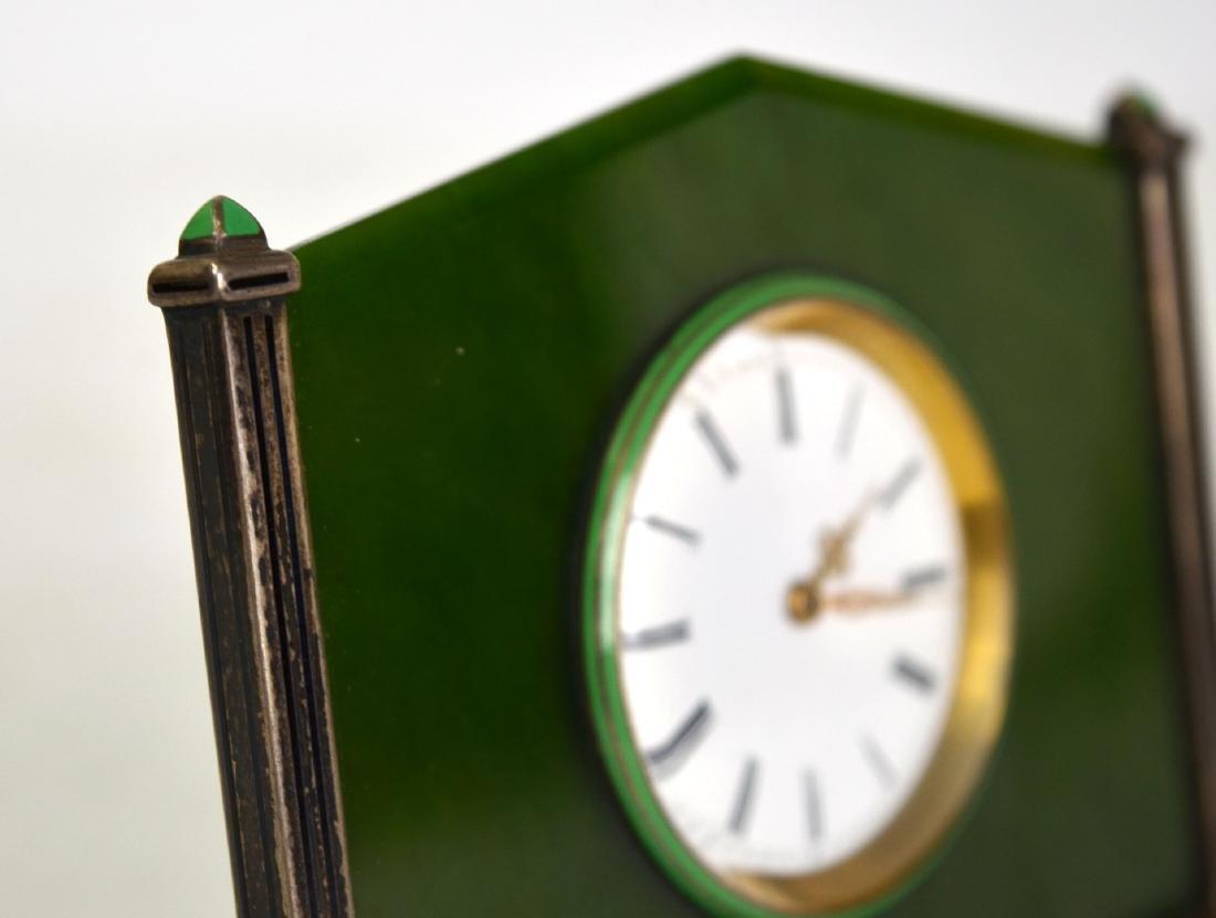 Spinach Jade Silver Enamel Clock - 3