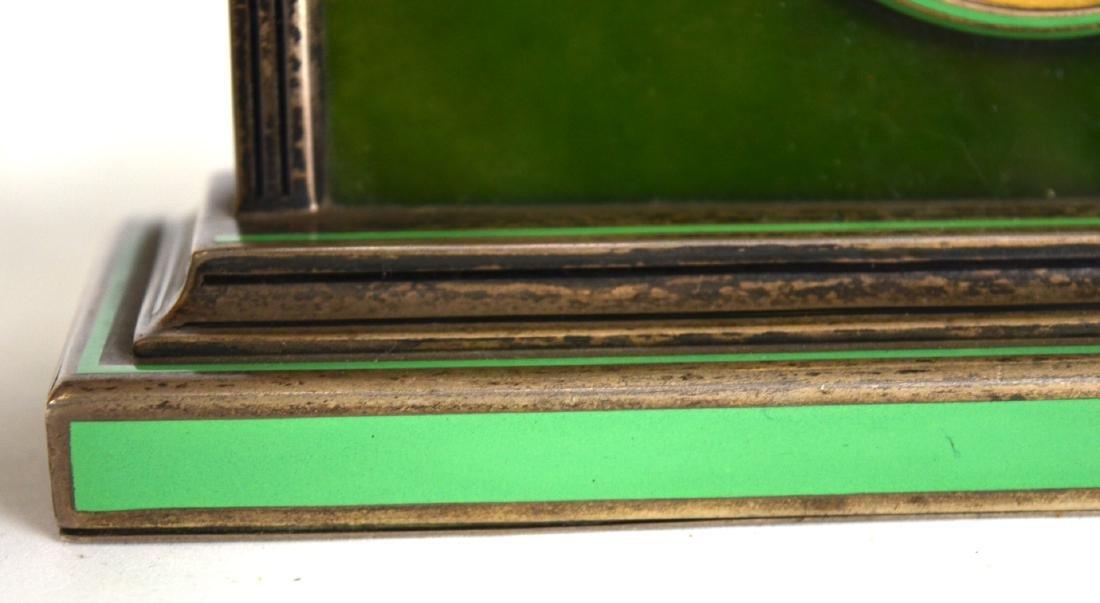 Spinach Jade Silver Enamel Clock - 4