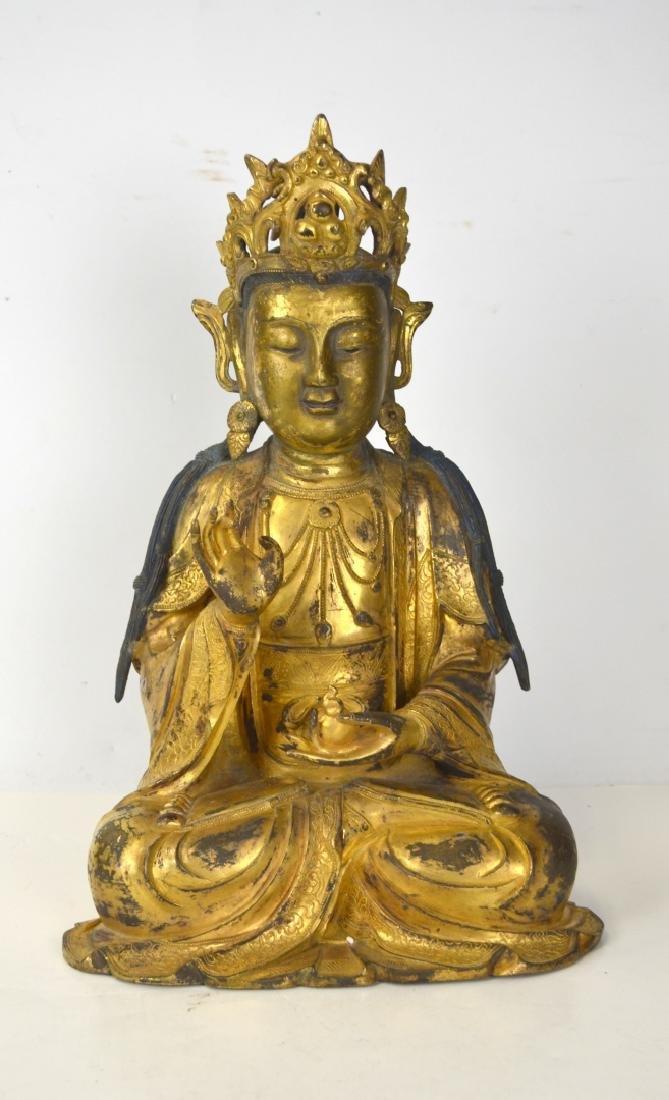 Ming. Large Chinese Gilt Bronze Buddha Figure