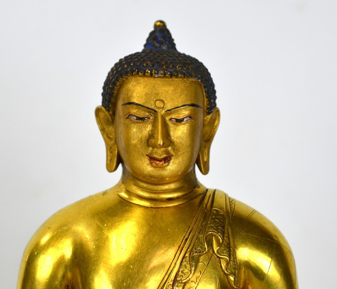 Chinese Bronze Gilt Buddha Figure - 2