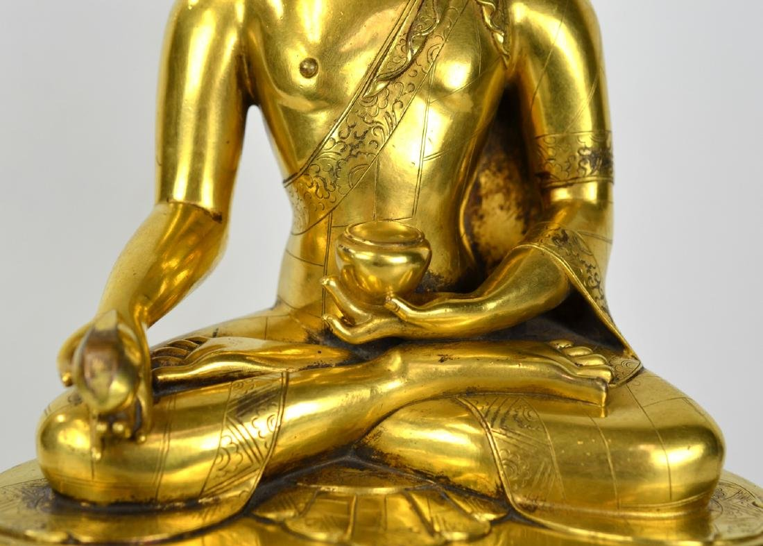Chinese Bronze Gilt Buddha Figure - 3