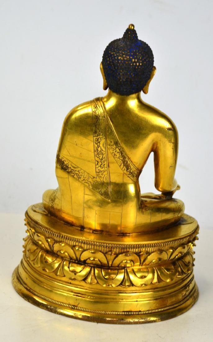 Chinese Bronze Gilt Buddha Figure - 6
