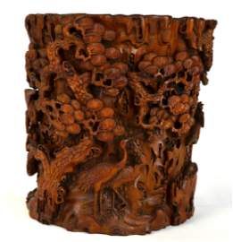 Chinese Highly Carved Bamboo Brush Pot