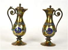 Pr French Enamel Silver Vases