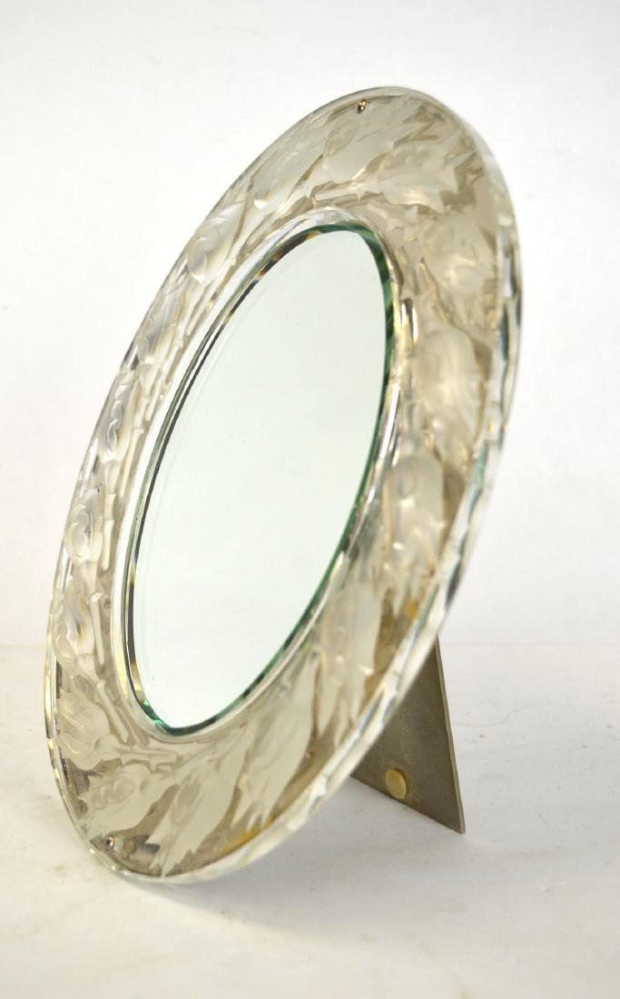 Lalique Silver & Crystal Mirror Signed
