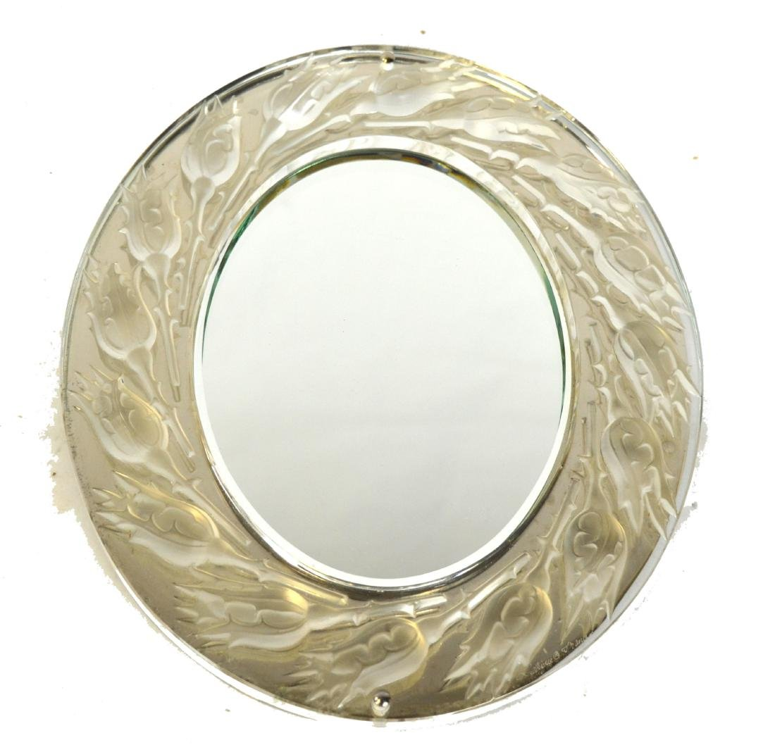 Lalique Silver & Crystal Mirror Signed - 2