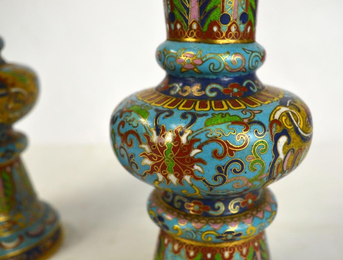 Pr Chinese Cloisonne Beaker Vases - 4