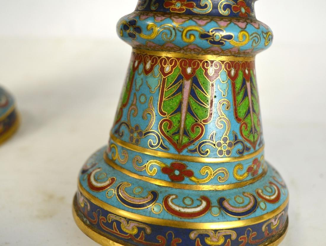 Pr Chinese Cloisonne Beaker Vases - 5