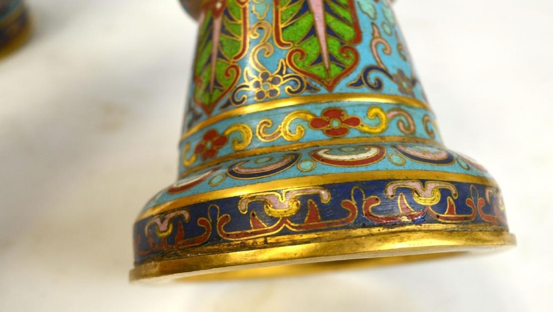 Pr Chinese Cloisonne Beaker Vases - 6