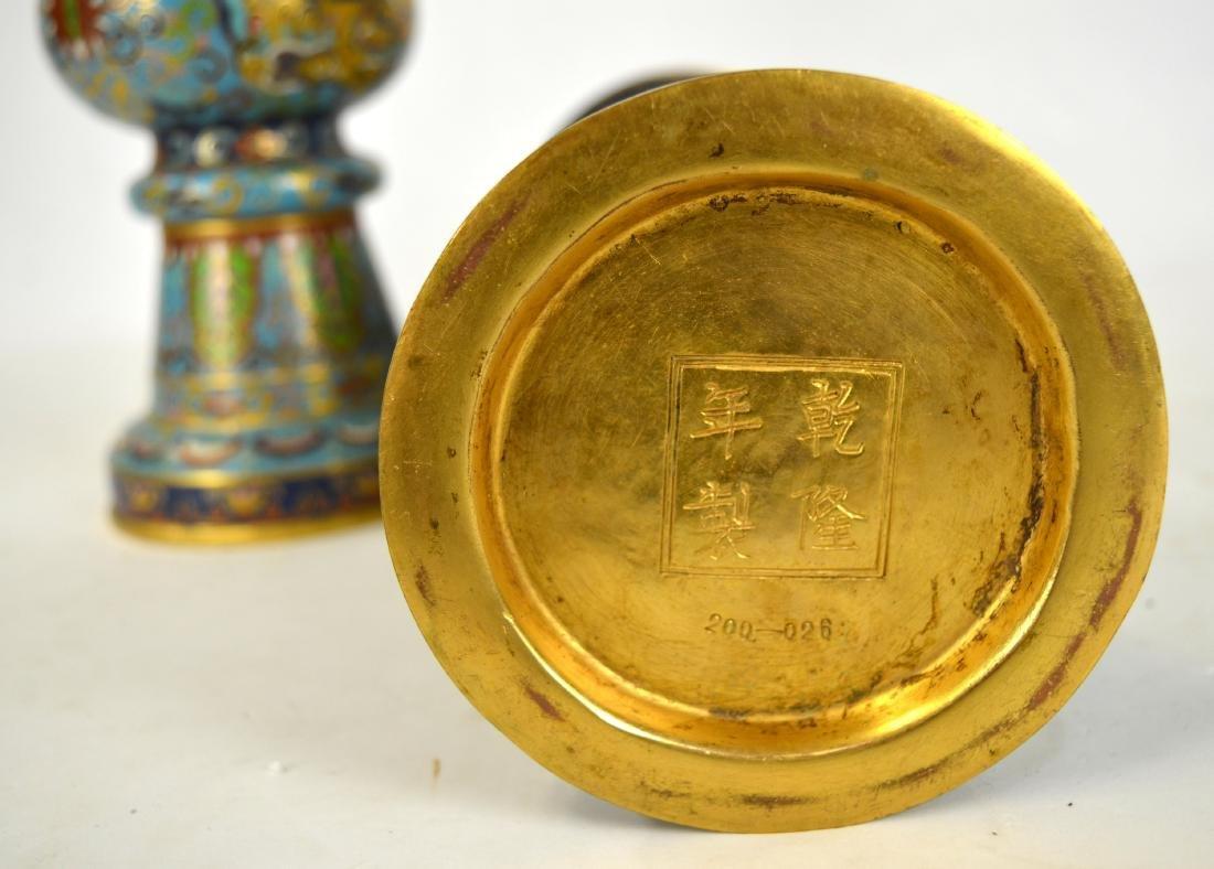 Pr Chinese Cloisonne Beaker Vases - 7