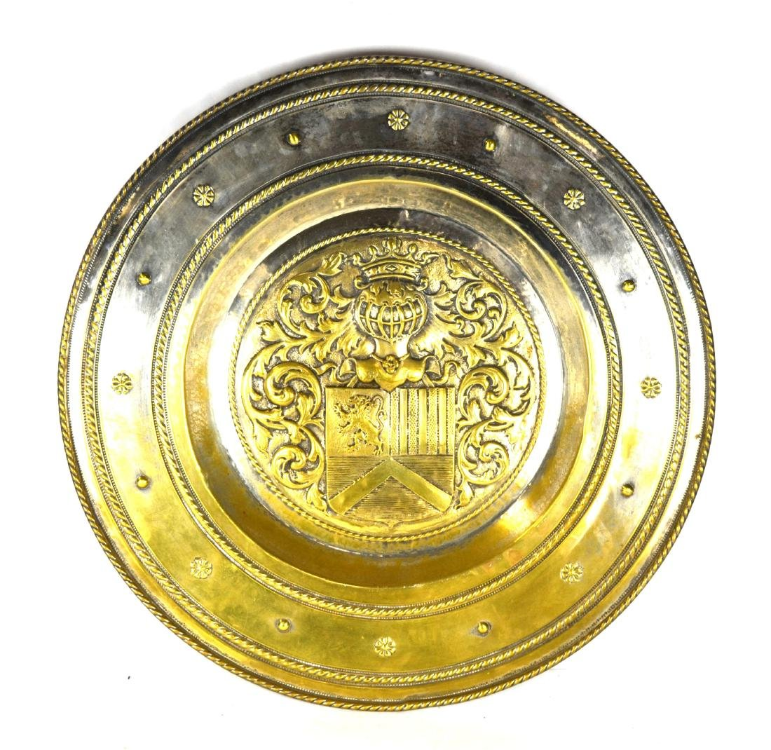 Large Silver Plated Armorial Charger