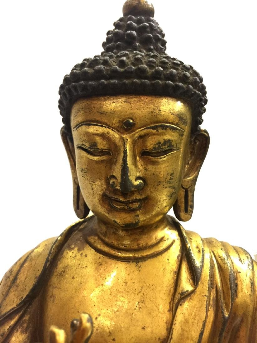 Chinese Gilt Bronze Buddha Figure - 4