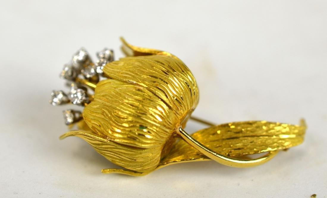 Original Cartier 18K Gold & Diamonds Brooch