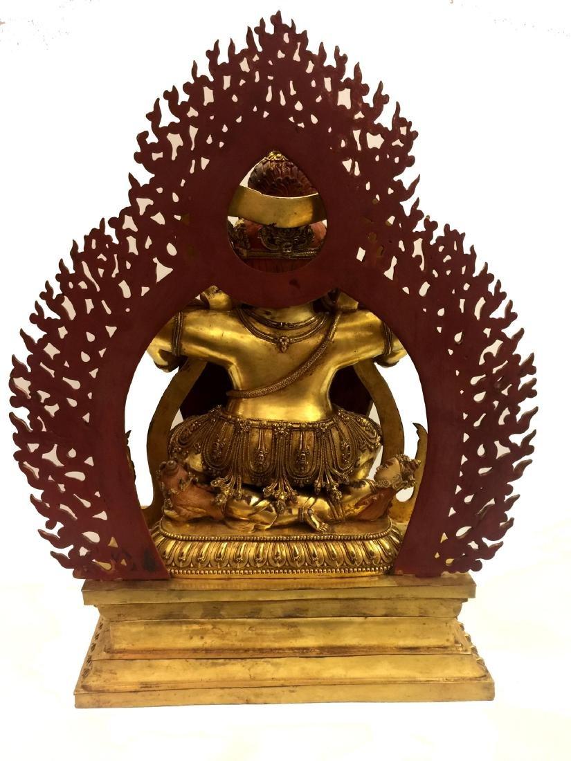Large Chinese Gilt Bronze Buddha Figure - 3