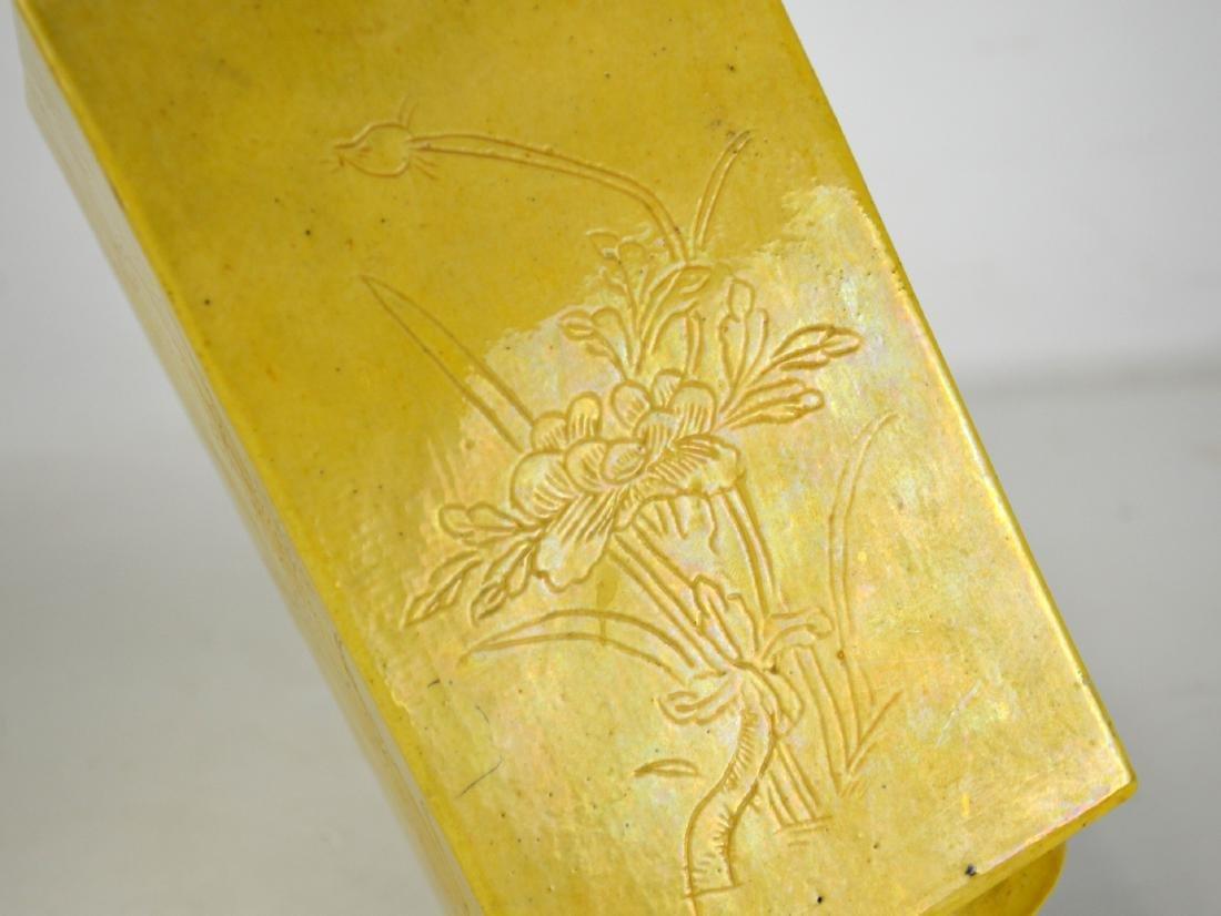 Pair Chinese Yellow Glaze Vases - 4