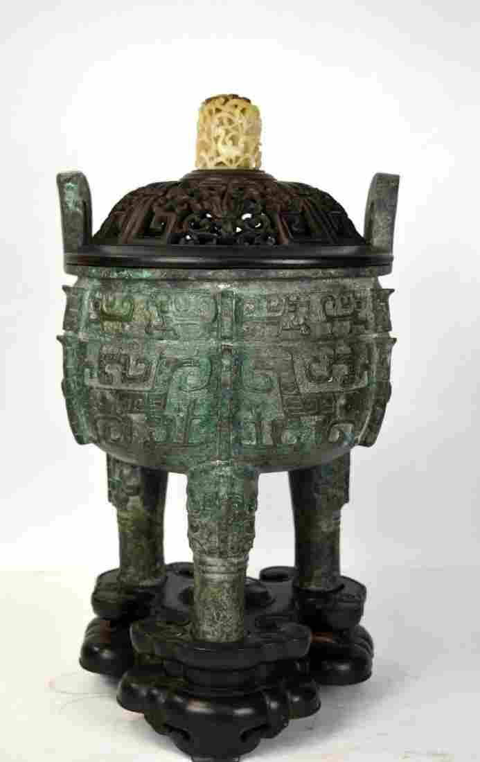 Large Chinese Archaic Bronze Censer w Cover & Base
