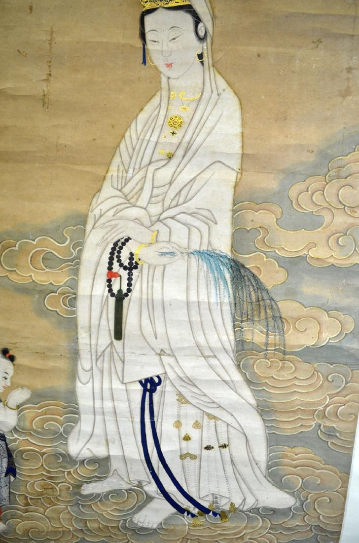 Chinese Watercolor Painting on Scroll (Guanyin) - 7