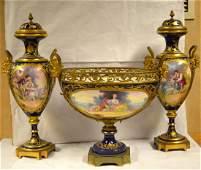 Set of Three Sevre Center Piece & Vases