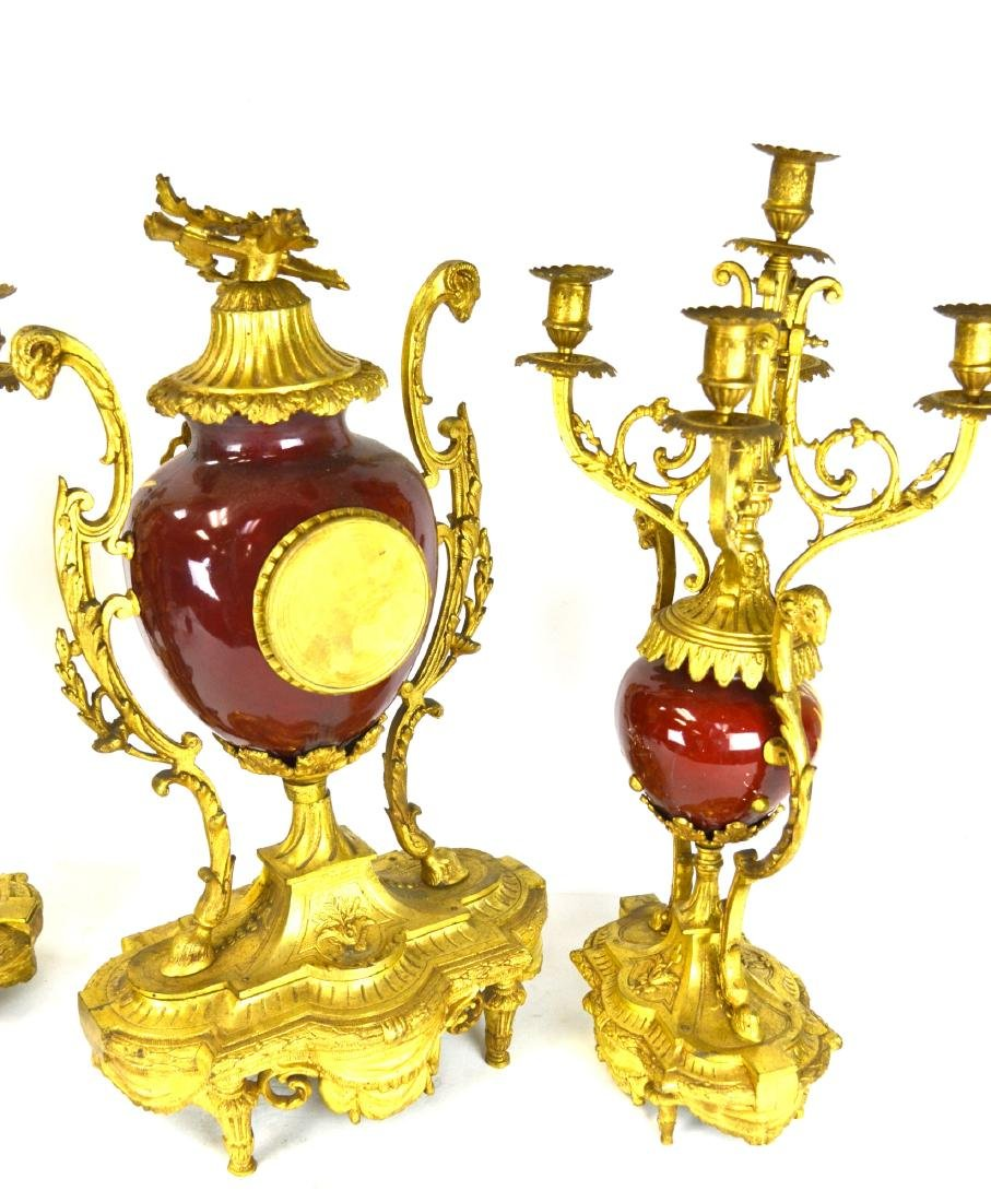Set of Sevre Gilt Bronze Clock & Pair  Candelabras - 10