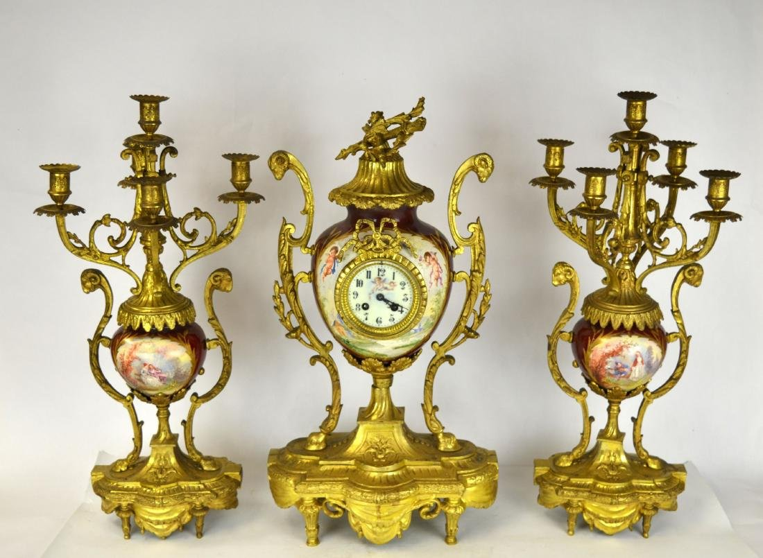 Set of Sevre Gilt Bronze Clock & Pair  Candelabras