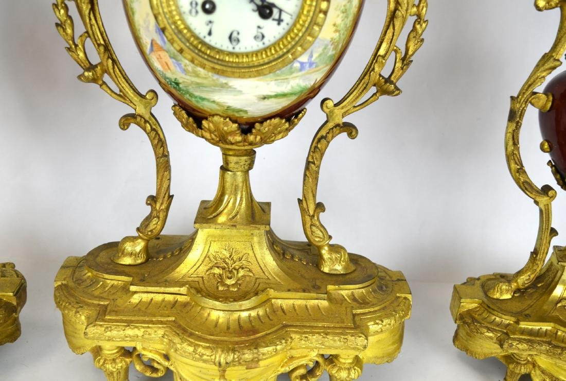 Set of Sevre Gilt Bronze Clock & Pair  Candelabras - 4