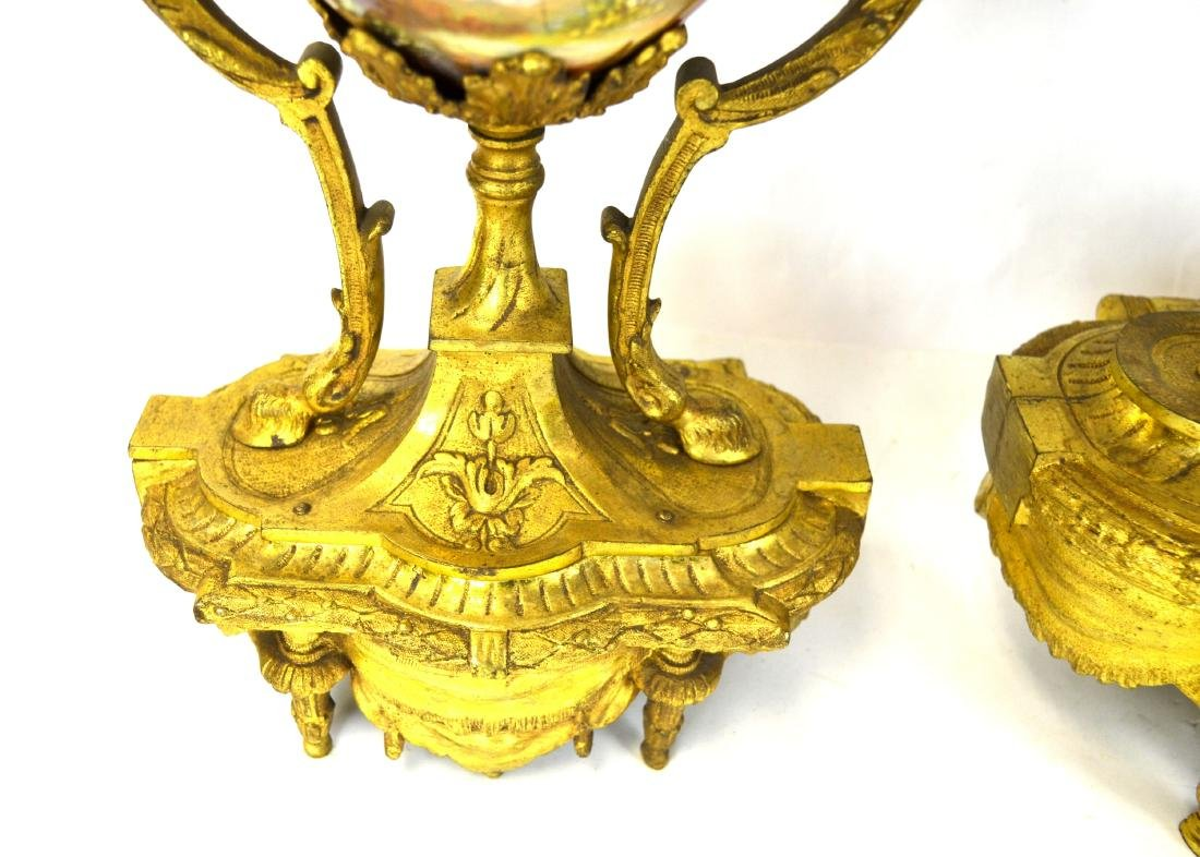 Set of Sevre Gilt Bronze Clock & Pair  Candelabras - 8
