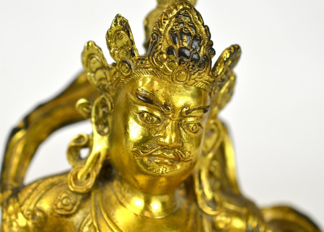 Chinese Gilt Bronze Buddha Figure on Lion - 2